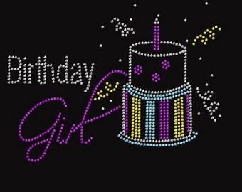 Rhinestone Birthday Girl Lightweight Ladies T-Shirt  or DIY Iron On Transfer    0400874