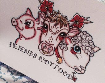 Friends not food tattoo print