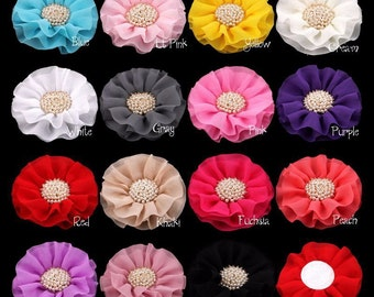 "4"" 15colors Big Ruffled Chiffon Flowers+Pearl Centre For Baby Girls Hair Clips Accessories Artificial Fabric Flowers For Headbands"