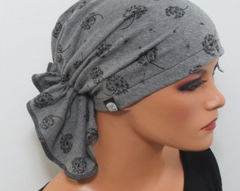 BANDANA without bind CHEMO Cap ideal gray m. dandelions b. hair loss chemotherapy instead of wig