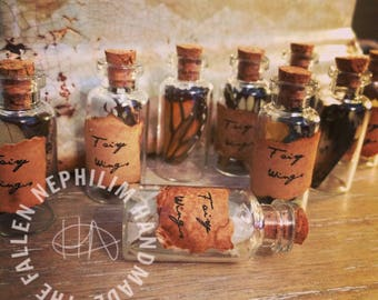 Small Glass Bottles of Fairy Wings - Fae - Specimen - Witch Craft - Spells - Magic - Fantasy - Macabre Oddity - Curiosity Curio