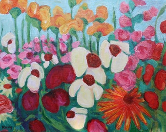 Flower picture, oil painting, painting, 40 / 50 cm
