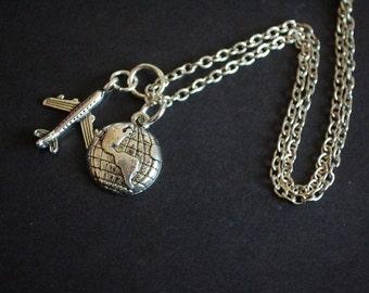 Aeroplane globe necklace