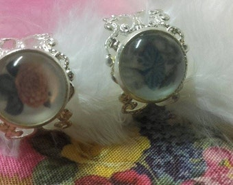 Lace and cabochon pink pompon dahlia and blue bindweed, silvery rings adjustable (adjustable size)
