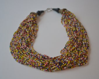 Mutlistrand Multicolor Glass Bead with Brass