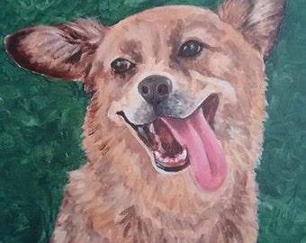 Custom Pet Portrait-  Acrylic, Charcoal, Graphite