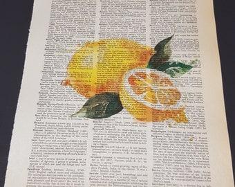 Vintage Dictionary Print - Lemons