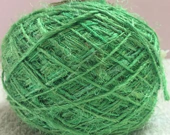 Recycled Sari Silk Yarn - Sea Green (100 Grams)