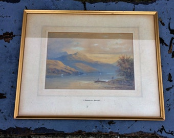 Vintage watercolour painting of Loch Lomond in Scotland