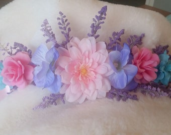 Pretty pink, purple, and blue flower crown