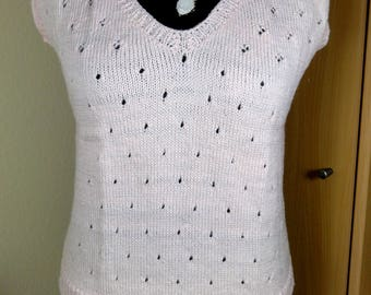 Summer sweater soft pink with lace patterns Gr. 38