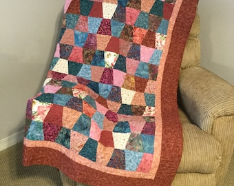 Tumbler Quilt, Pink Quilt, Pink and Teal Quilt, Girl's Quilt, Handmade Quilted Throw, Scrappy Quilt, Handmade Quilt, Quilt for Sale