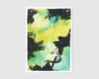 Green Color Block Blank Greeting Card