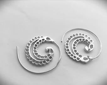 Spiral silver earrings woman earrings gift for her spiral earrings tribal earrings
