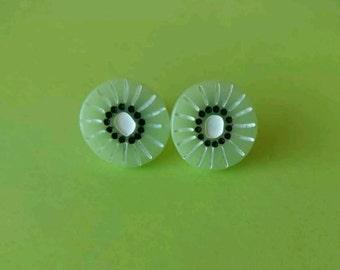 Green Resin Kiwi Fruit Slice Stud Earrings