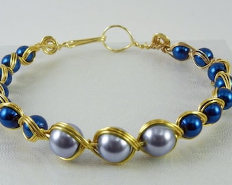 Blues and Wire Wrapped Bracelet