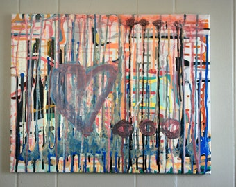 Original Psychedelic Abstract Drip Art Painting
