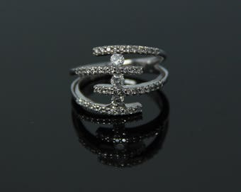 14k White Gold Diamond Statement Ring, 1.18 CTW