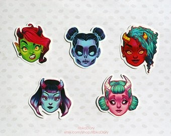 Demons and Ghost Girls sticker set of 5