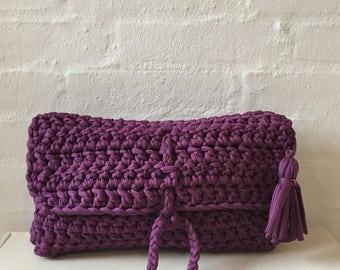 Purple crochet summer clutch