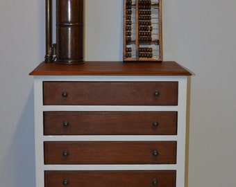 Dove white and natural wood -6 draw slim legged tallboy