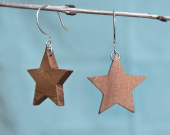 Wood star earrings Large star earrings Geometric earrings Star dangle earrings Star drop earrings Wood and sterling silver Gift for her