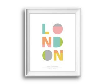 London,London text poster,Printable,Instant Download,London City,city coordinates,London Decor,London Gift,London poster, London text poster