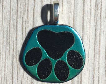 Dichroic Fused Glass Pendant - Green Aqua Laser Engraved Etched Paw Print Pendant