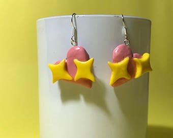 Pink heart sparkle emoji drop earrings