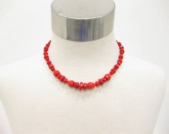 West Germany Stamped Red Faceted Glass Bead Necklace