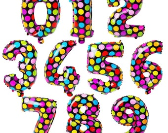 Spotty Number Balloons | 16 inch