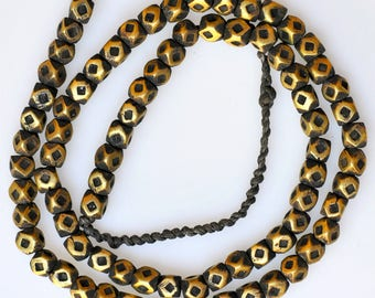 26 Inch Strand of Old 6mm Bronze Tuareg Beads - Vintage African Trade Beads