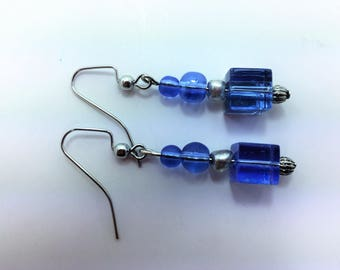Light blue square bottom earrings #22