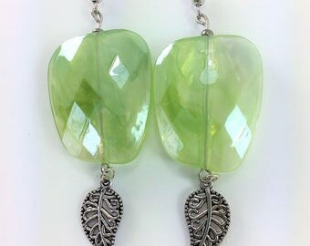 Large light green earrings with silver leaves #113