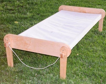 handcrafted from hardwoods,  Camp Cot