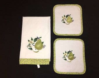 Embroidered Pear Fruit and Two Quilted Potholder Set
