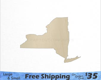 New York NY State Cutout - Large & Small - Pick Size - Laser Cut Unfinished Wood Cutout Shapes (SO-0010-32)
