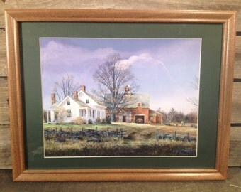 framed farmhouse and barn print country primitive farmhouse Decor