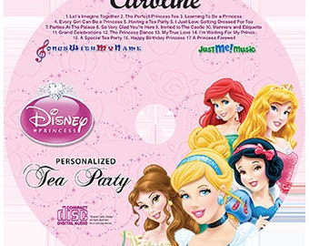 Disney Princesses Personalized Music Cd, Disney Tea Party, with a FREE MP3 Digital Download - Plus FREE SHIPPING