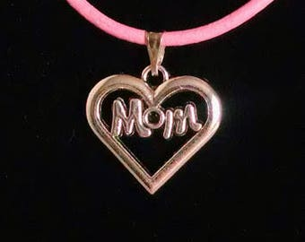 """18"""" Pink Leather Necklace with Silver Mom Heart Pendant Fashion Necklace Heart Charm Pendant 3002"""