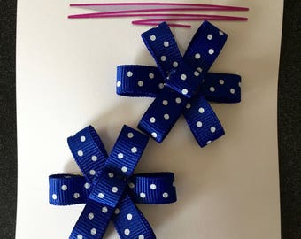 Blue and White Polka Dot Flower Ribbon Bows