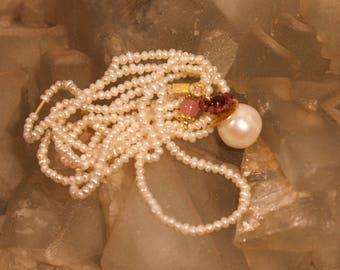 "Pearl Necklace with big Pearl ""Samara"" long"