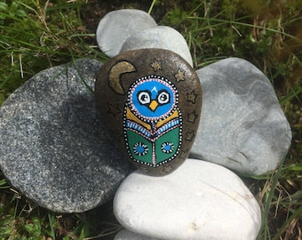 Colorful owl (Moon and stars/gold)