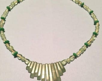 Green Aventurine and Crystal Beaded Necklace
