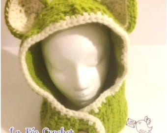 Crochet hood with bear ears