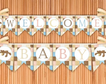 Bear Necessities - Welcome Baby Printable Banner - Instant Download