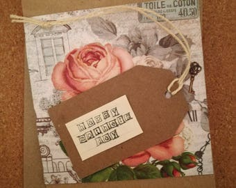 Mothers Day Card - Roses - Brown Kraft Card