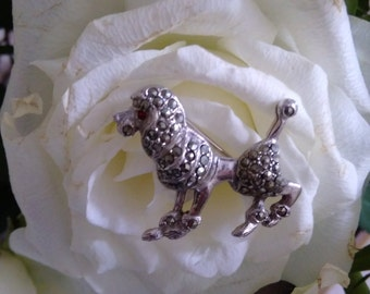 Vintage Marcasite Poodle Brooch With Red Diamante Eye
