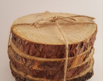 Set of 4 rustic wood slice coaster