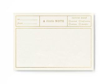 Notepad Gold Foil / Real Gold Foil / Elegant Notepad / Friend Gift / Market List / Floral Notepad Letterpress / Botanical Notepad / Planner